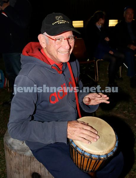 Lag B'Omer at North Shore Chabad. Peter Sinclair drumming. Pic Noel Kessel.