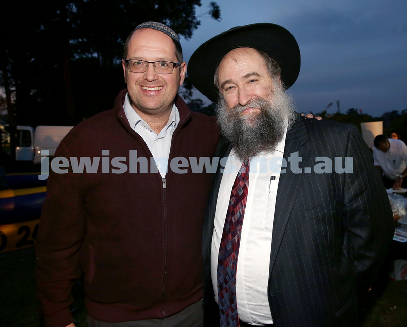 Lag B'Omer at Chabad North Shore. Rabbi Paul Lewin (left) & Rabbi Nochum Schapiro. Pic Noel Kessel.