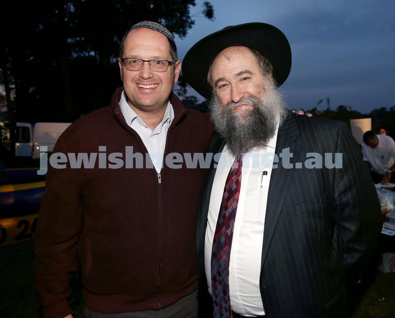Lag B'Omer at Chabad North Shore. Rabbi Paul Lewin (left) & Rabbi Nochum Schapiro. Pic Noel Kessel.