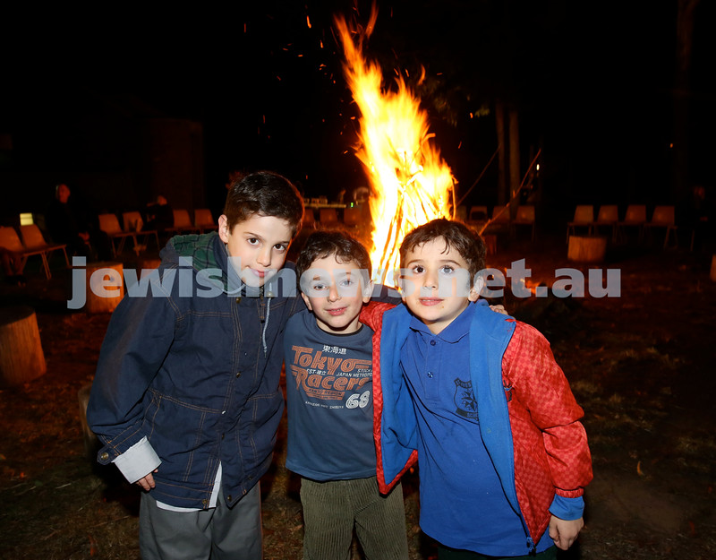 Lag B'Omer at Chabad North Shore. (from left) Ilan Triesman, Aden Ezra, Gabriel Triesman. Pic Noel Kessel.