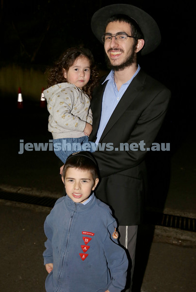 Lag B'Omer at North Shore Chabad. Shifra, Nachman ,Tuvia Kastel. Pic Noel Kessel.