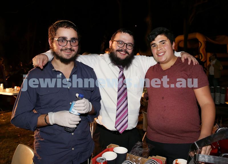 Lag B'Omer at Chabad North Shore. (from left) Mendel Kugel, Chanoch Sufrin, Meir Goldberg. Pic Noel Kessel.