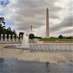 National World War II Memorial and Washington Monument