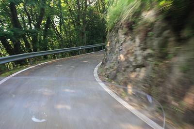 Motorbike downhill from hotel to Lago Maggiore