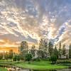 Laguna Woods, Par 3, condos, manors, sunset, clouds, sky, grass, lake, bench, Ted Miller