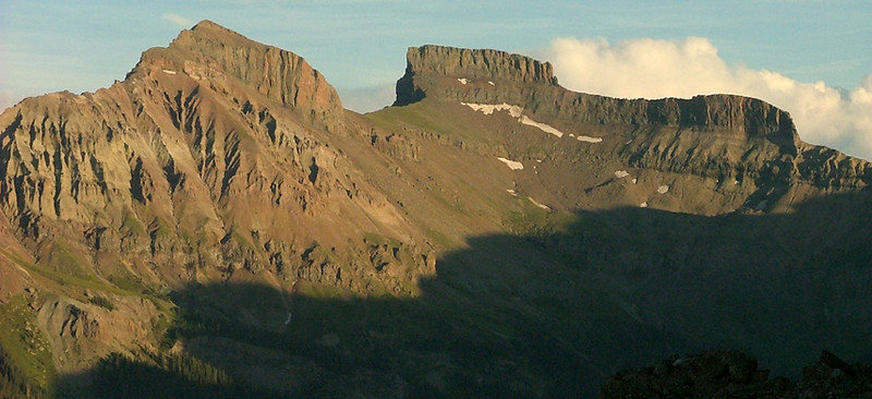 Redcliff  13, 642 ft (L) and Coxcomb 13,656 ft from the summit of 12,152 ft Courthouse Mountain at sunset