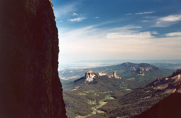 West Fork of the Cimarron River from Coxcomb's ridge cleft 12,152 foot Courthouse Mountain and 11,781 foot Chimney Rock  in photo center
