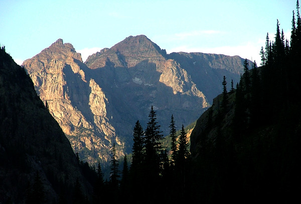 13,575 foot Greylock Mountain (rank 206) welcomes the morning sun into the Vallecito Creek drainage; Weminuche Wilderness, Needle Range, San Juan Mountains, Colorado.