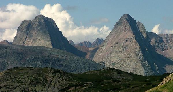 Vestal Peak (13,864 ft, rank 77) and Arrow Peak (13,803 ft, rank 104) enchant the senses from Highland Mary Lakes; Weminuche Wilderness, Grenadier Range, San Juan Mountains, Colorado.