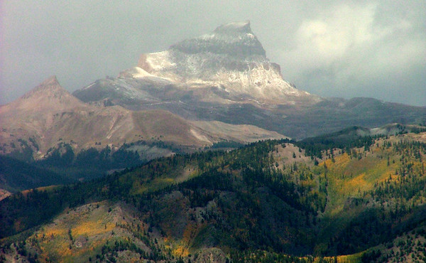 An early autumn snow entertains Uncompahgre Peak (14,309 ft, rank 6); Big Blue Wilderness, San Juan Mountains, Colorado.