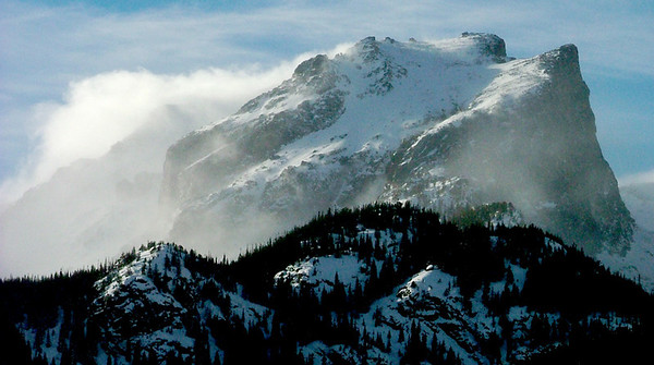 Hallett Peak, 12,713 feet, puts up a good fight with frigid winter winds, Rocky Mountain National Park.