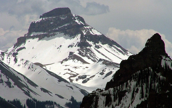 Uncompahgre Peak, Colorado's sixth highest summit, touches the sky at 14,309 feet; Alpine Trail, Colorado.