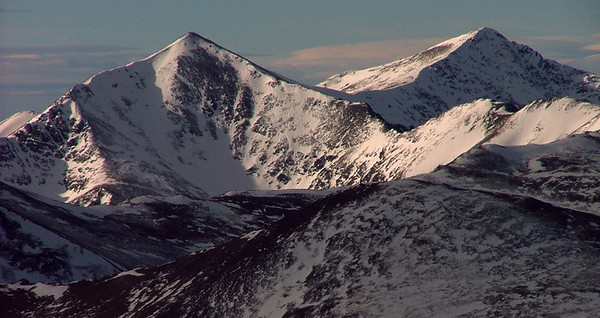 Grays and Torreys, Colorado's ninth and eleventh highest peaks ascend to 14,270 and 14,267 feet, respectively.  The photo was taken from the 38th highest peak, Mount Bierstadt at 14,060 feet; Front Range, Colorado.