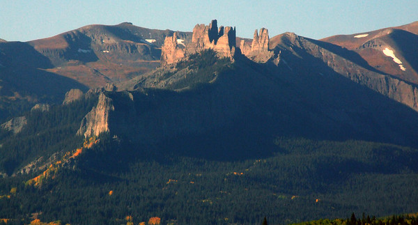 The Castles monitor eastern access into the West Elk Mountains, Colorado.