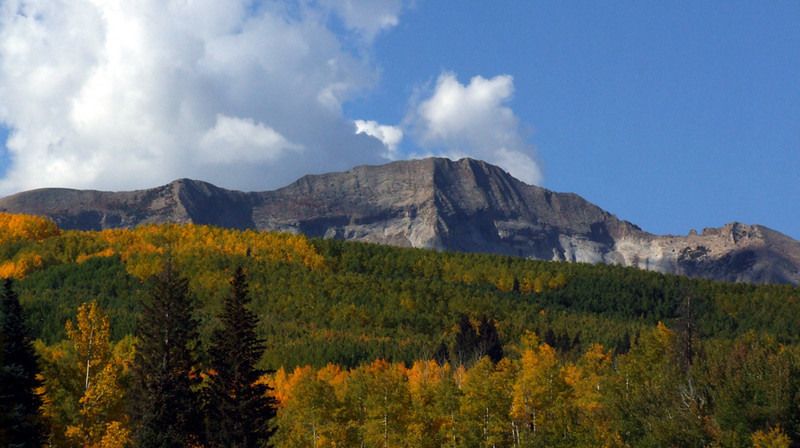 West Beckwith Peak (12,185 ft) lazes in a warm fall day; West Elk Mountains, Colorado.