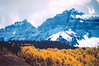 An autumn frosted Teakettle Mountain (13,819 ft, rank 98) and Cirque Mountain (13,686 ft, rank 155) hail the looming cold season; San Juan Mountains, Colorado.