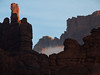 The Titan catches first light; Onion Creek, Fisher / Mystery Towers, Utah