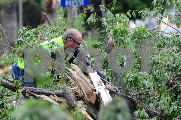-Messenger photo by Jesse Major<br /> <br /> Lon Buse, of Lake View, uses a chainsaw to cut trees that fell when Sunday's tornado tore through Lake City Sunday night. Governor Terry Branstad declared a disaster area in Calhoun County following the tornado.