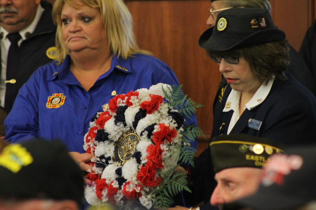 . Kristi Garabrandt � The News-Herald <br> Maribeth Shankman President of the Women\'s Auxilary for the American Legion Unit 678 and Connie Sorrell Auxillary President for Willowick-Eastlake VFW Present the Wreath at EastLake\'s Veteran\'s Day ceremony.