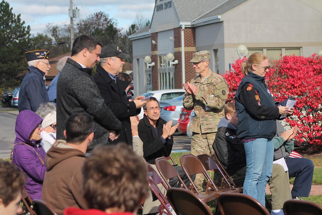 . Kristi Garabrandt � The News-Herald <br> Local veterans being acknowledged at Mentor\'s Veterans Day program.