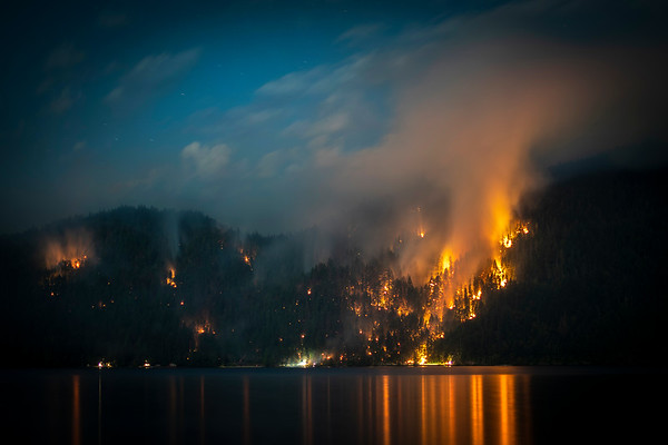 A wildland fire along East Beach Road on the northern shore of Olympic National Park's Lake Crescent grew to more than 63 acres on July 30, 2020. (Jesse Major)