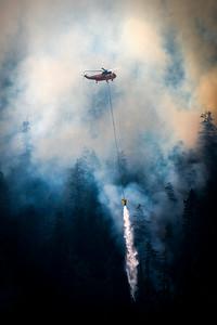 A helicopter drops water on a wildland fire along East Beach Road on the northern shore of Olympic National Park's Lake Crescent that grew to more than 63 acres on July 30, 2020. (Jesse Major)