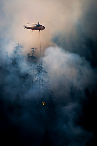 A helicopter prepares to drop water on a wildland fire along East Beach Road on the northern shore of Olympic National Park's Lake Crescent that grew to more than 63 acres on July 30, 2020. (Jesse Major)