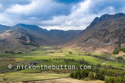 View of Great Langdale from Side Pike hill
