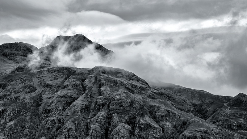 Clouds over the peaks at Hardnott Pass