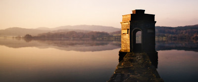 """National Trust-owned folly the """"Temple"""" on the end of a stone jetty on Windermere."""