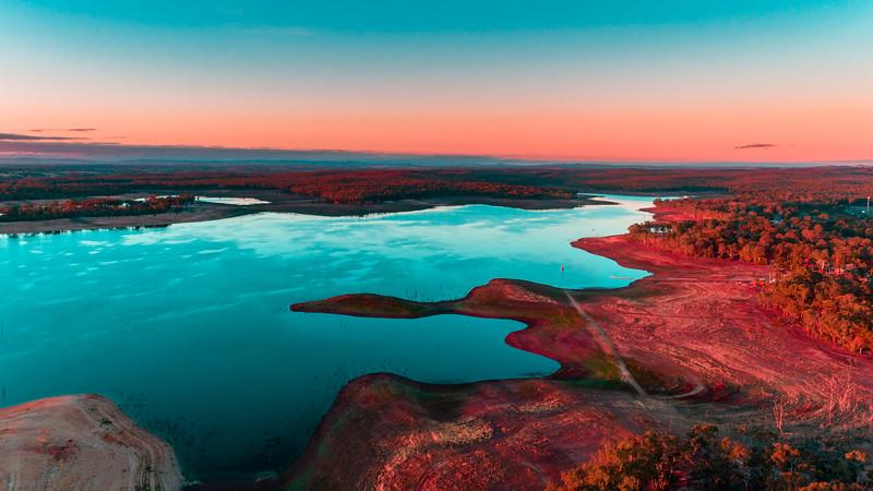 Lake Eppalock Early Morning Sunrise - Red Sky