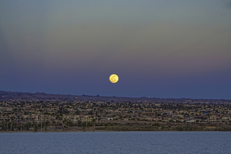 Full Moon rising over Lake Havasu City, AZ