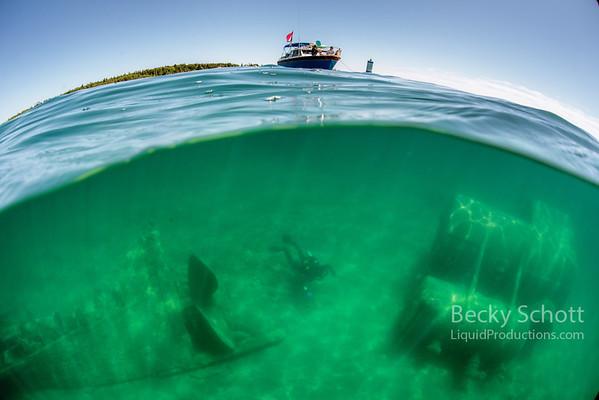Wreck of the Monohansett under the boat