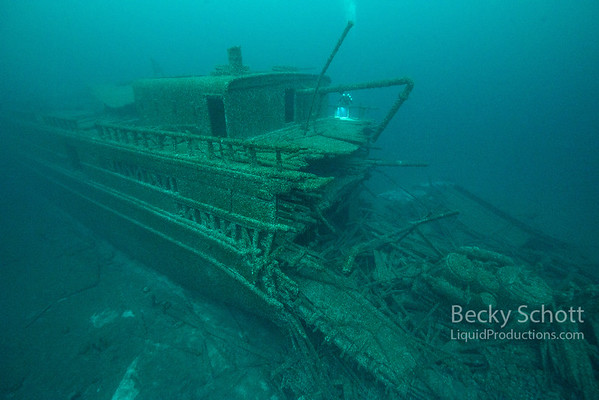 The stern of the wooden wreck of the  SS Florida