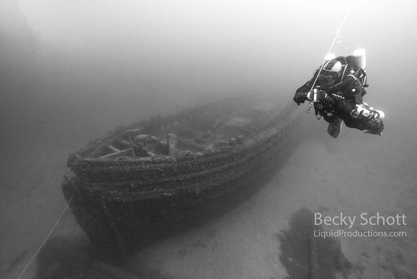 Diver with a lift bag on the E.B. Allen schooner