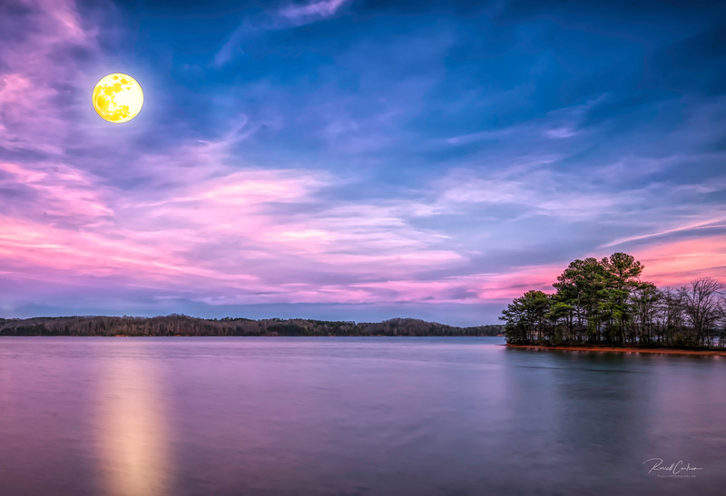 Snow Moon Over Lake Keowee