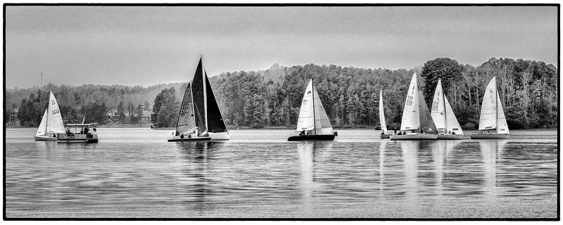 Lake Keowee Sailing Race (B&W)