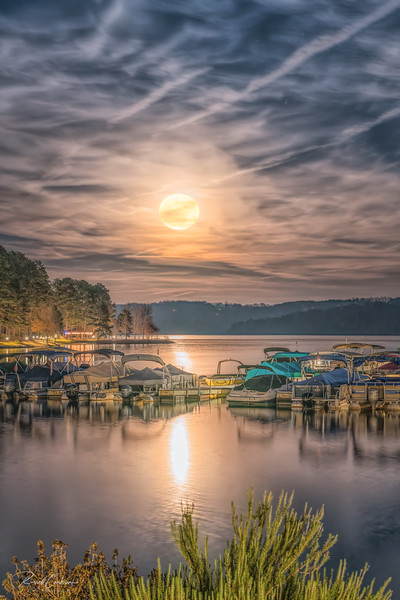 Full Moon Over Lake Keowee Marina