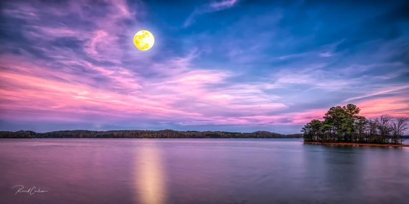 Snow Moon Over Lake Keowee