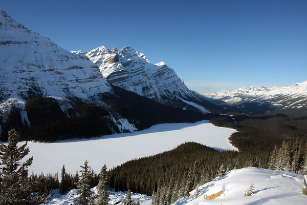 The world famous viewpoint of Peyto Lake. I've seen this picture many times in the Summer, but haven't seen many pics from the Winter. This was actually a tough spot to get to because the road was closed for the season, so I had to hike up from the highway. Wasn't too long, but considering how cold it was, and how underdressed I was, I felt a bit out of my element and was very happy to finally arrive at the viewpoint.