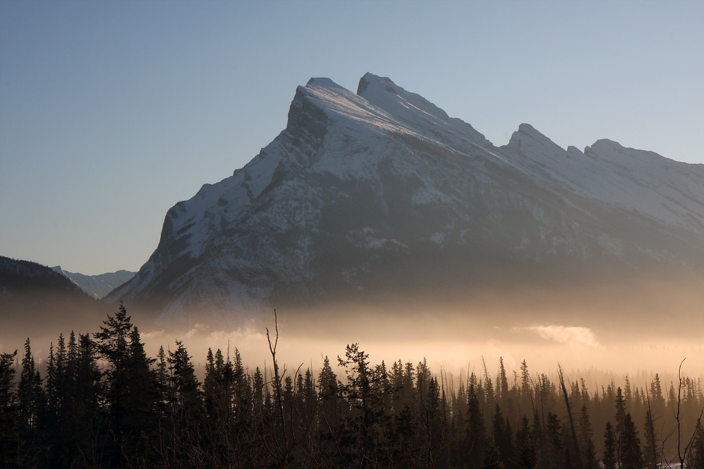 On the way back home, we stopped off along the highway so I could take a quick picture of Mt Rundle near Banff, AB. This is probably the most photographed mountain in the area, and is a symbol for the Canadian Rockies. The morning clouds hadn't quite lifted yet, which added a nice effect when combined with the morning sunshine.
