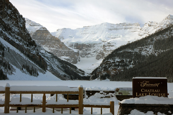 This is the view from our hotel....it's truly amazing. The hotel sits right on the shore of Lake Louise, and just behind the lake looms the massive Mt. Victoria and Victoria glacier.
