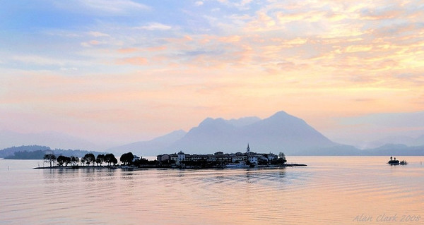Sunrise view of Isola Pescatore from B&B at Baveno on Lago Maggiore.