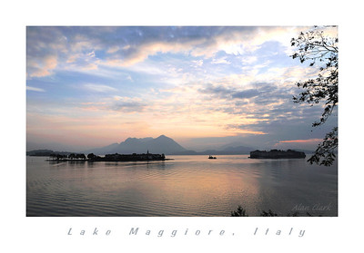 Dawn at Lago Maggiore with view of both Isola Pescatore and Isola Bella