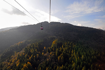 Cable car from Alpine Gardens to Mount Mottarone in October, 2008