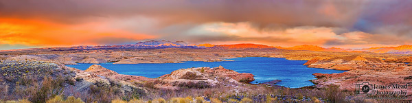 "'Water to the Desert,"" Blazing Lake Mead Sunset, Lake Mead National Recreation Area, Nevada"