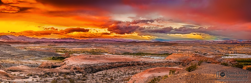 """Desert Dreams,"" Fiery Sunset over Lake Mead, Lake Mead National Recreation Area, Nevada"