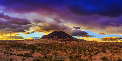 """Peek-A-Blue,"" Storms over Lava Butte at Sunset, Lake Mead National Recreation Area, Nevada"