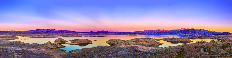 """Lilly Pad Rocks,"" Sunset over Lake Mead, Lake Mead National Recreation Area, Nevada"
