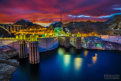 """Electrified,""  Alpenglow over Hoover Dam and Lake Mead at Sunset, Nevada - Arizona"